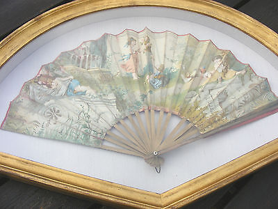 Antique Framed Court Face Hand Fan