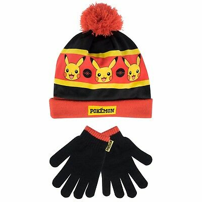 Pokemon Winter Set | Kids Pikachu Hat and Gloves Set | Boys Pokemon Accessories
