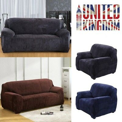 Easy Fit Sofa Slipcover Stretch Protector Soft Couch Cover Thick Plush Velvet