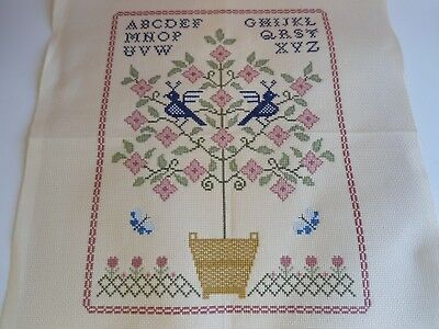 'Flowering Tree Sampler' Completed Cross Stitch