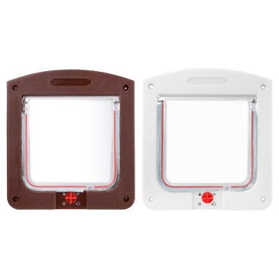 PP Brown/White 4-Way Locking Lockable Puppy Small Pet Cat Dog Flap Door + Liner