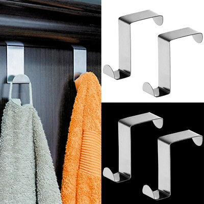 2/4/10PCS Stainless Steel Tatkraft Claw Compact Over the Door Cupboard Hooks Set