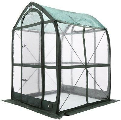 FlowerHouse Pop-Up Greenhouse Portable Clear PVC 2-Screened Vents 5 ft. x 5 ft.