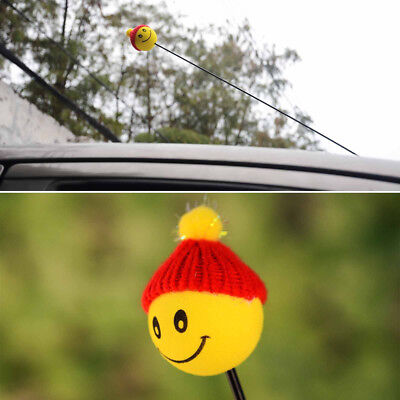 Newly Yellow Happy Smiley ​Face With Wool Hat Car Antenna Pen Topper Aerial Ball