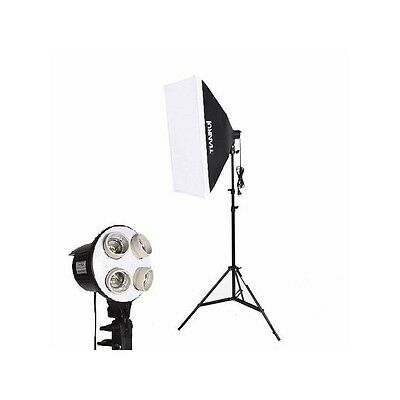 Kit iluminación fotografía y video - Softbox + Pie + Soporte para 4 Bombilla