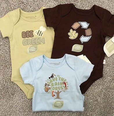organically grown, 3-bodysuits, size 3mo, New, Mixed Lot, Short Sleeve Shirts