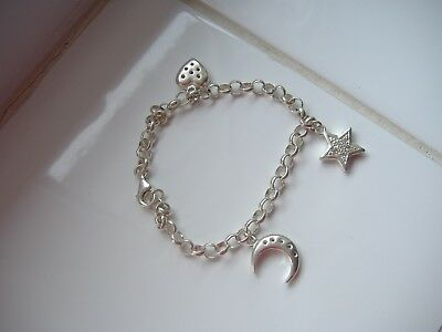 925 Silver Bracelet With Three Charms