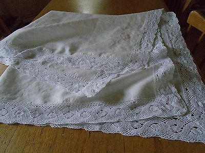 VINTAGE IRISH  LINEN TABLECLOTH - LOVELY COTTON LACE BORDER -46 x 48 inches