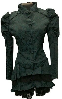 Steampunk Gothic Victorian  Style Jade Colour Woven jacket and skirt Size S