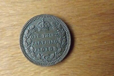 British One Third Farthing Coin 1913 Very Fine+ Grade Scarce Example.