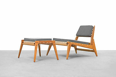 "Sessel & Ottoman Mid Century Modern ""hunting chair"" Germany 50er 50s 60er Eiche"