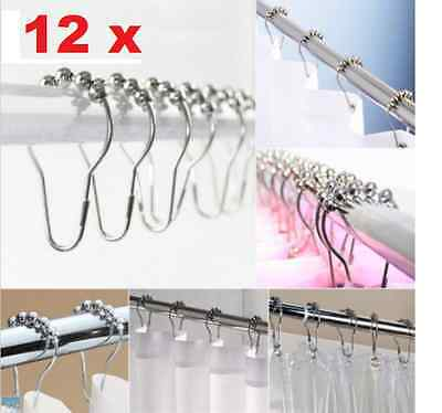 12PCS/Set Chrome Plated Ball Bead Easy Glide Shower Metal Curtain Rings Hooks AU