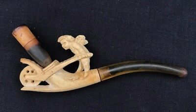 Ancienne Pipe Ange Brouette Ecume Mer Antique Smoking Meerschaum Angel Cherub