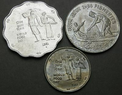 INDIA 10, 25, 50 Paise 1981/1986 - 3 Coins. - 3884