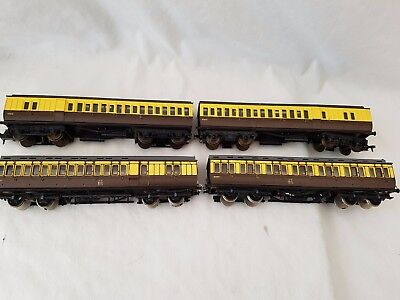 4 X Triang G.w.r Clerestory Coaches, 2 Super Detailed Nice Unboxed