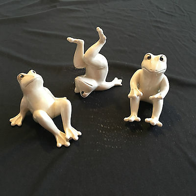 Fitz & Floyd whimsicle porcelain playing frog figurines