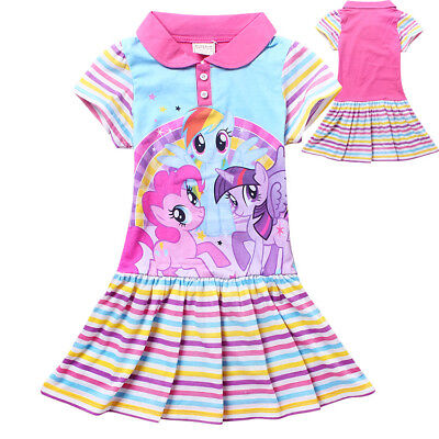 Girl Dress My Little Pony Short Sleeves Cotton Party Birthday Dress Size 1-7 Yrs