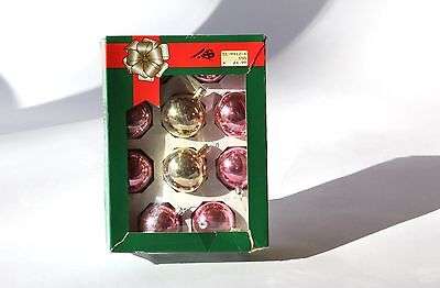 Glass Christmas Ornaments - Boxed Set of Solid Pink and Gold Balls