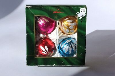 Boxed Set of Four Hand-Painted Glass Christmas Ornaments