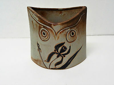 DIEULEFIT The Caves 1960 - Vase owl owl stylized vintage ceramic