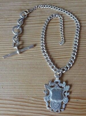 ANTIQUE SILVER ALBERT WATCH CHAIN & FOB (only clasp missing)