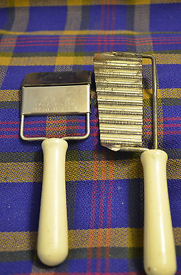 Pair of Cheese Slicers w/ White Wooden Handles, THE DANDY & Grooved Metal