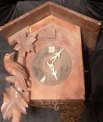 Vintage Cuckoo Black Forest Clock For Repair Or Parts Incomplete
