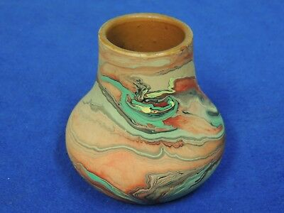 Vintage Nemadji Art Pottery Vase Marbled Orange and Turquoise