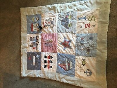 Baby Boy Blue Cot Quilt - trains, toy soldiers, alphabet, stars