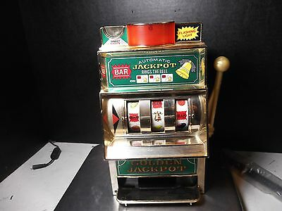 VINTAGE WACO GOLDEN JACKPOT SLOT MACHINE ONE ARMED BANDIT w/FLASHING LIGHT