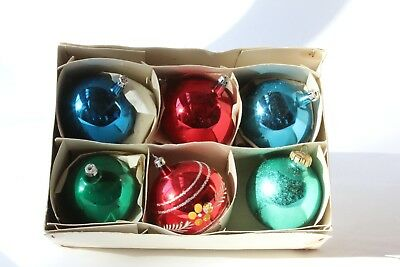 """Glass Christmas Ornaments - One handpainted, five solid-color  3"""" balls"""
