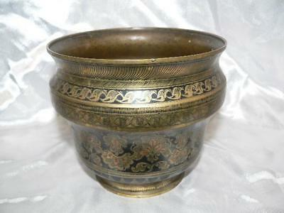 A Vintage  Brass and enamel planter 13  cm high Indian?