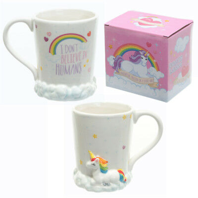 Enchanted Unicorn On Clouds I dont Believe In Humans Rainbow Boxed Mug