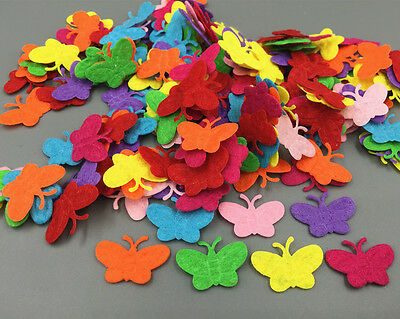 200 Mixed Colors Die Cut Felt Circle Cardmaking decoration Butterfly shape 22mm