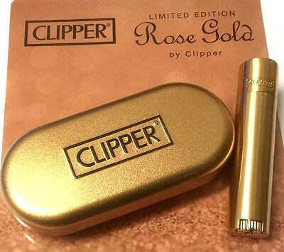 ROSE GOLD SHINY GENUINE CLIPPER METAL CLASSIC REFILLABLE LIGHTER with GIFT TIN
