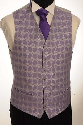 Cw43.mens/boys Lilac And Silver Motif Waistcoat / Dress/ Suit / Party / Formal