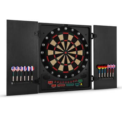Dart Champ Electronic Dartboard Cabinet 12 Soft Tips Black Games Indoor Play