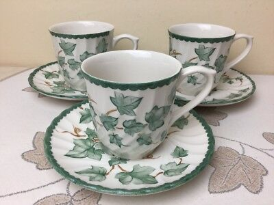 BHS Country Vine 3 x Cups & Saucers Lovely Condition