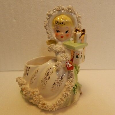 Beautiful NAPCO Christmas Girl Spagehetti Art Planter, Yellow Hair,Gold Leafing.