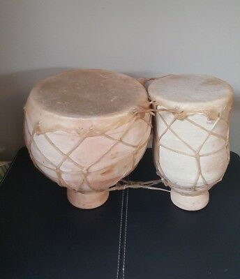 Morrocan Pottery & Animal Skin, Double Drums Vintage