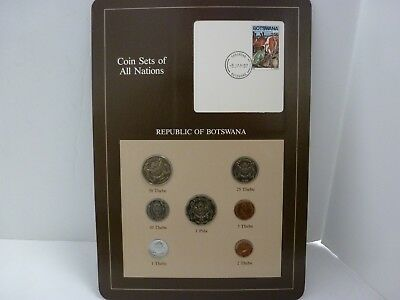 COIN SETS OF ALL NATIONS-Botswana/Cow Stamp & 1 Pula & 2 Thebe 1981 & info card