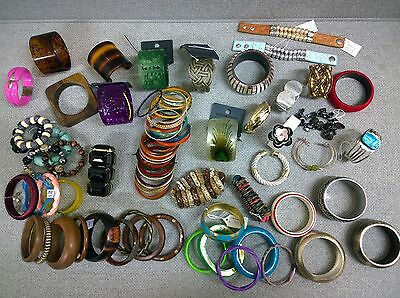 Job Lot of 50 Mixed Bracelets + Chunky Bangles - Perfect for Resale!