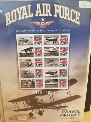 CC ~ RAF 90th Anniversary ~ First Edition Stamp Sheet ~ Sheet No. 1 ~ 10 Stamps