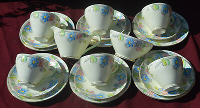 Foley China ..HANDPAINTED ART DECO FLORAL TEASET FOR 6
