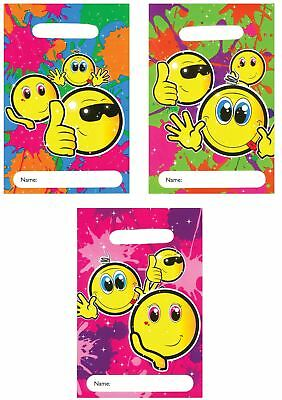 Plastic Smiley Face Emoji Theme Party Bags Childrens Kids Goody Fillers Birthday
