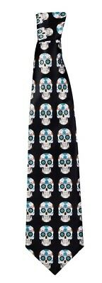 Halloween Black Day Of The Dead Tie Fancy Dress Accessory 130cm