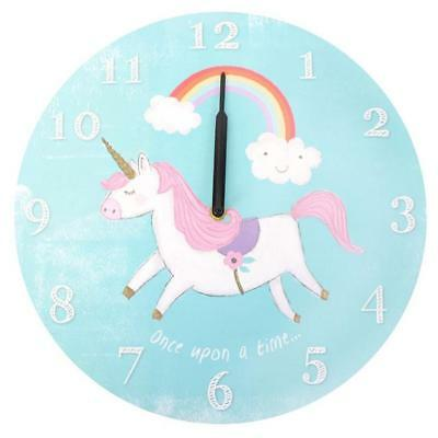Magical Unicorn Round Wall Clock Children`s Bedroom Battery Operated Clock
