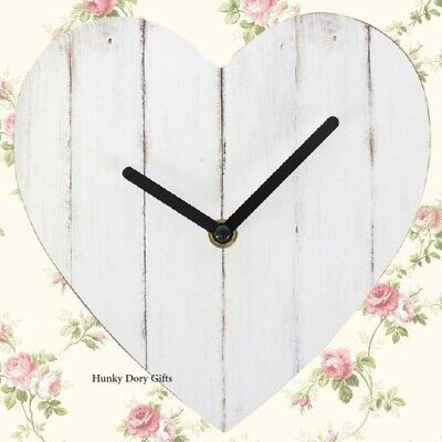 Shabby Chic Vintage Style HEART SHAPE Wall CLOCK Wooden Home Decoration