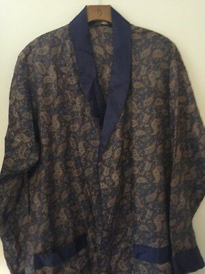 Vintage Bonart Blue And Gold Dressing Gown Smoking Robe M