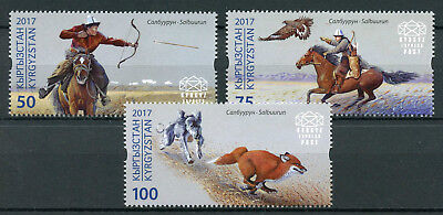 Kyrgyzstan KEP 2017 MNH Salbuurun Traditional Hunting 3v Set Dogs Foxes Stamps